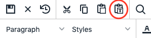 Paste as Text icon in the toolbar.