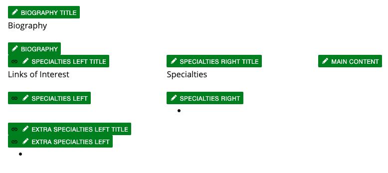 Personnel Information item Editable Regions.