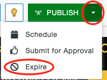 Expire option under the Publish dropdown on a page.