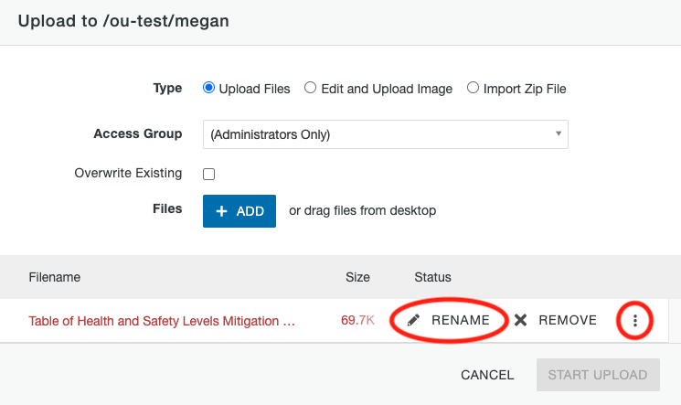 Rename option on the File Upload window.