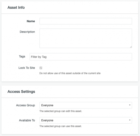 Asset Info and Access Settings sections of a Form Asset.