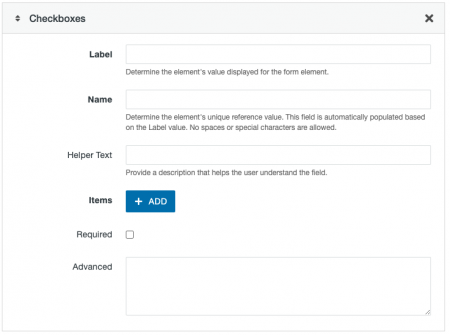 Checkbox form field options for a Form Asset.