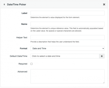 Date and Time Picker field options for a Form Asset.