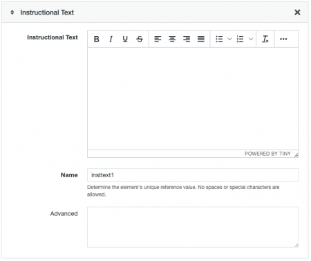Instructional Text field options for a Form Asset.