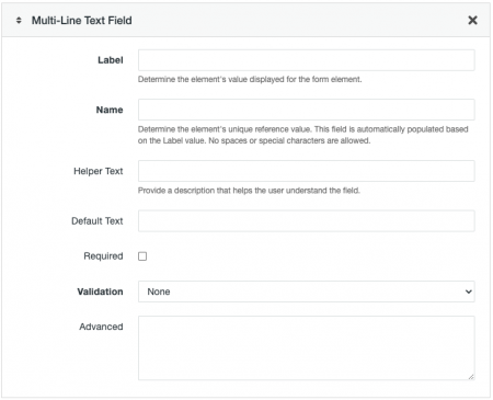 Multi-Line Text Field options for a Form Asset.