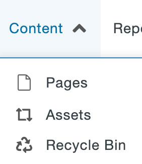 Content drop-down menu in the Global Navigation Bar.