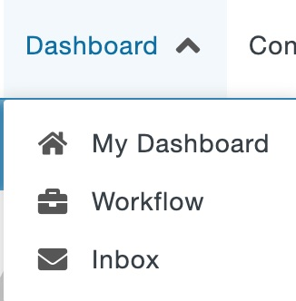 Dashboard drop-down menu in the Global Navigation Bar.