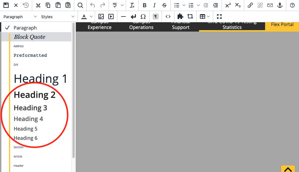 Headings drop-down menu in the toolbar.
