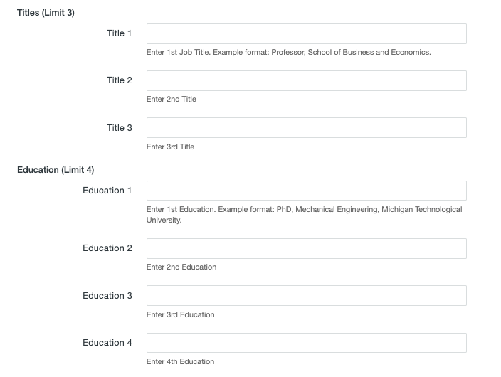 Titles and Education fields on the MultiEdit Content screen of a personnel information file.