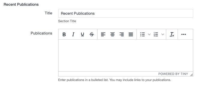 Recent Publications fields on the MultiEdit Content screen of a personnel information item.