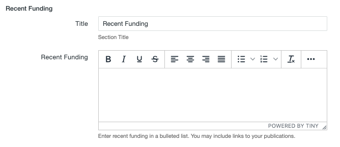 Recent Funding fields on the MultiEdit Content screen of a personnel information item.