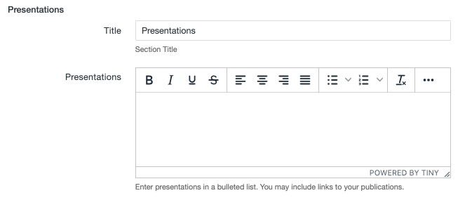 Presentations fields on the MultiEdit Content screen of a personnel information item.