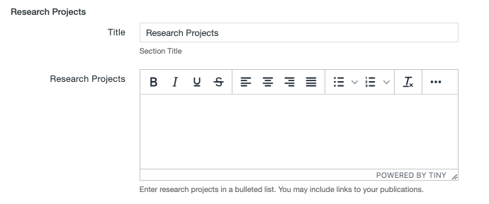 Research Projects fields on the MultiEdit Content screen of a personnel information item.