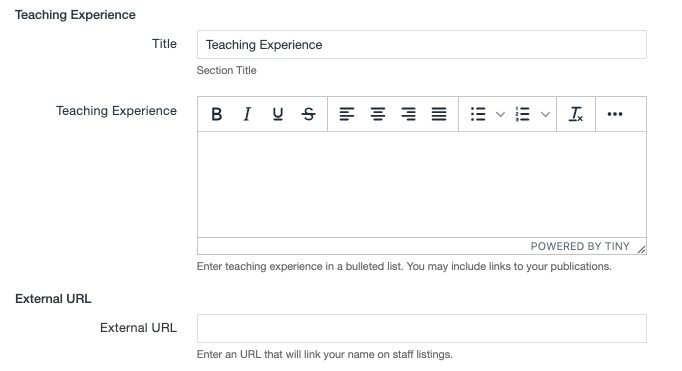 Teaching Experience and External URL fields on the MultiEdit Content screen of a personnel information item.