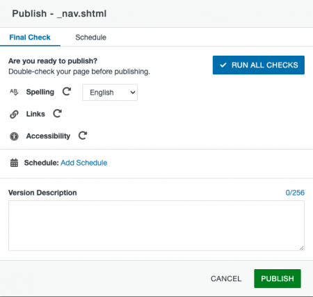 Final Check tab of the Publish window.