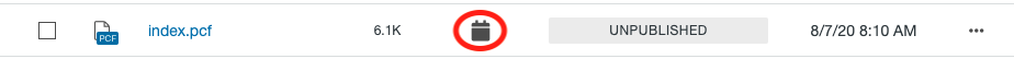 File status icon for a file scheduled to publish—calendar icon, shown in the Pages List View.