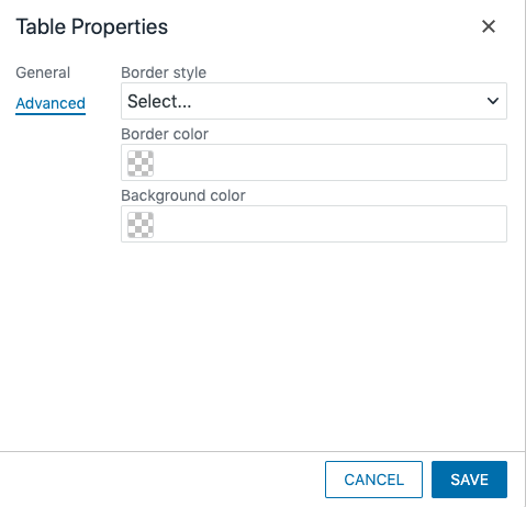 Advanced tab of the Table Properties window.