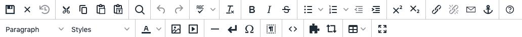 Tiny MCE (JustEdit) toolbar.