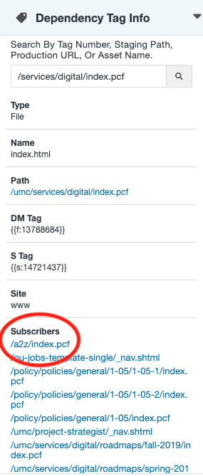 Subscribers list in the Dependency Manager sidebar gadget.