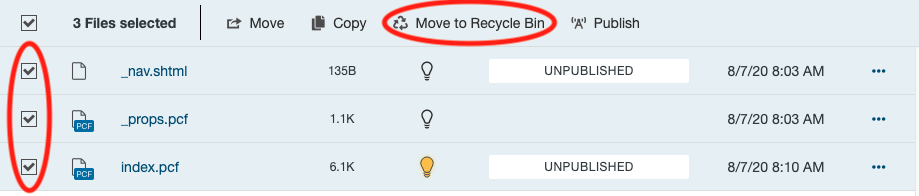 Pages List View showing multiple items selected and the Move to Recycle Bin option.