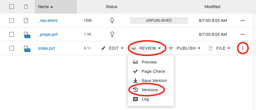 Pages List View showing the Versions option under the Review menu in More Actions.