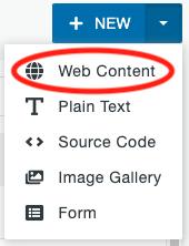 Web Content option under the New Asset drop-down menu.